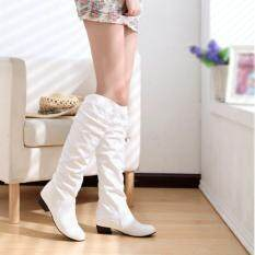 Women Winter Warm Shoes Leather Casual Flat Heel Knee High Boots Long Rainboots White By Qiaosha.