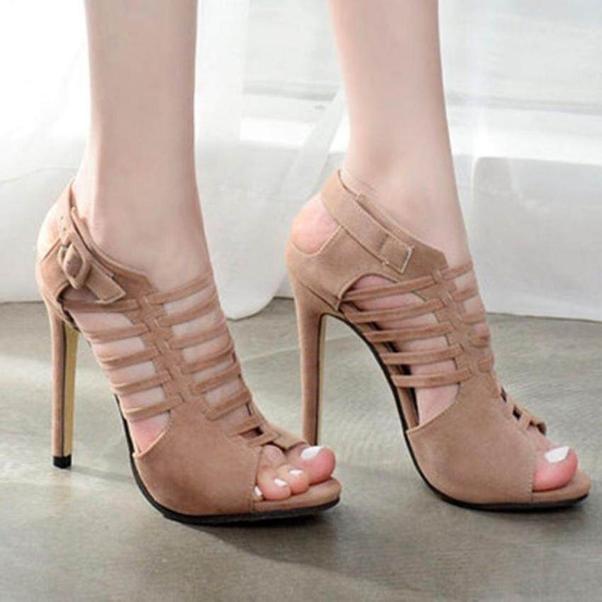 21ca1d3d16f Women s Peep Toe Stiletto Sandals Retro Party High Heels with Cut Out - intl