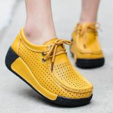 Women's Shake Shoes Female Breathable Leisure Platform Slimming Shoes Leather Large Base Shoes Increased Shoes High Heel Casual Fashion Sneakers