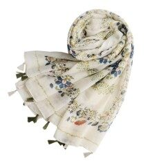 Womens Tassel Scarf Long Wraps Flower Print Voile Shawl Beach Towel By Phoenix Mall.