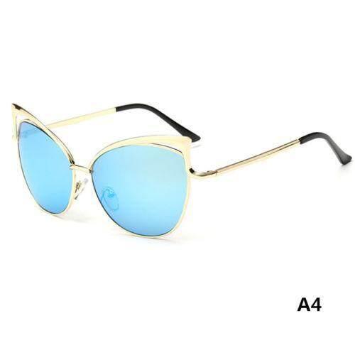 d0e0bb01c Women's Gold Retro Cat Eye Sunglasses Classic Designer Vintage Fashion  Shades