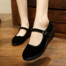 Womens Ladies Mid Wedge Heel Mary Jane Hotel Work Strap Shoes Ballet Cotton Flat Black By Qiaosha.