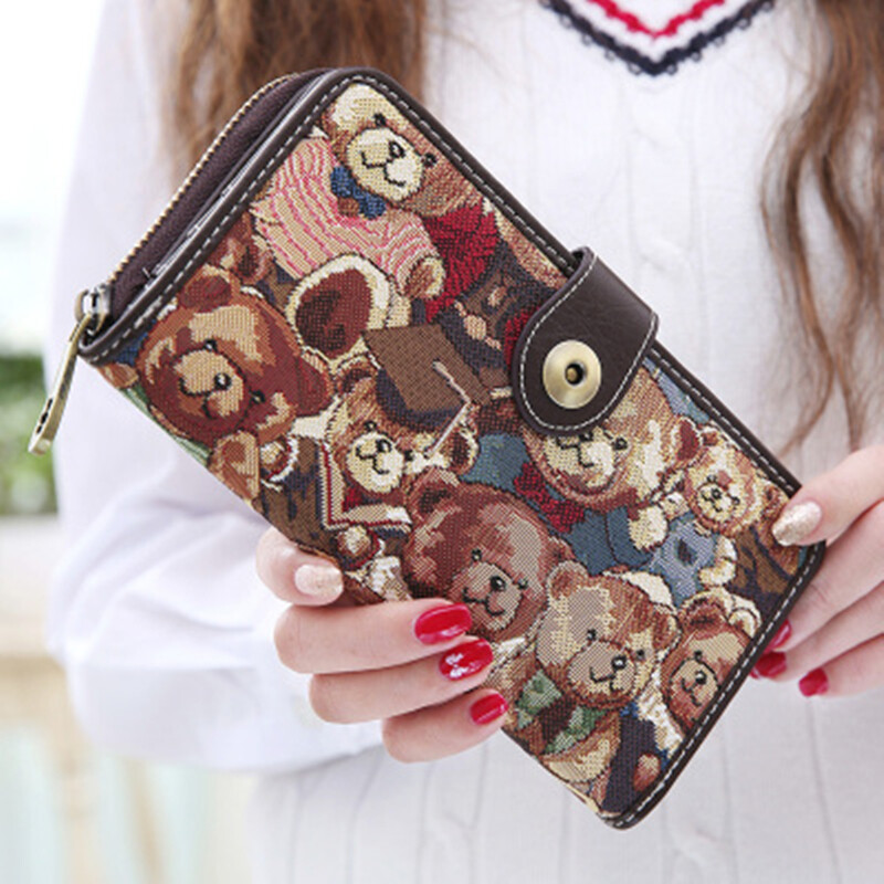 Women's Lovely Bear Pattern Clutches Retro Long Coin Purse (Coffee)