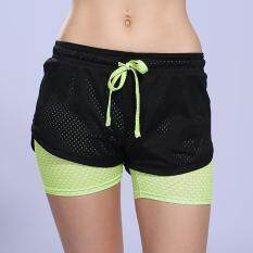 Womens Running Shorts 2 In 1 Running Tights Short Womens Gym Cool Woman Sport Short Fitness Ladies Running Shorts Sportswear (green) By Scotty Dream Paradise.