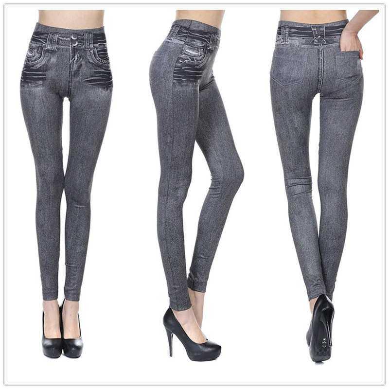 Dhsujlp สตรี Skinny กางเกงยีนส์ปลอมกางเกงโยคะไร้รอยต่อคาวบอย Slim ขนาดพิเศษเจกกิ้งเลกกิ้งกางเกงกลับกางเกงแฟชั่น Denim กระเป๋าเอวสูง Leggings By Dhsujlp.