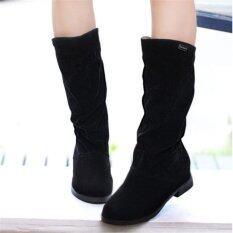 Womens Winter Warm Snow Boots Suede Mid-calf Boots Platform Fashion Flat Shoes Black