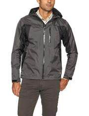 Wrangler Men's Waterproof Zip Front Rain Jacket, Black/Grey, M