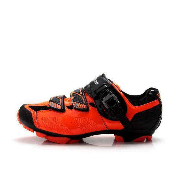XTB35-B1407-Orange Outdoor Athletic Racing MTB Cycling Shoes, AutoLock/SelfLock Bike Shoes, SPD Cleated Bicycle Shoes