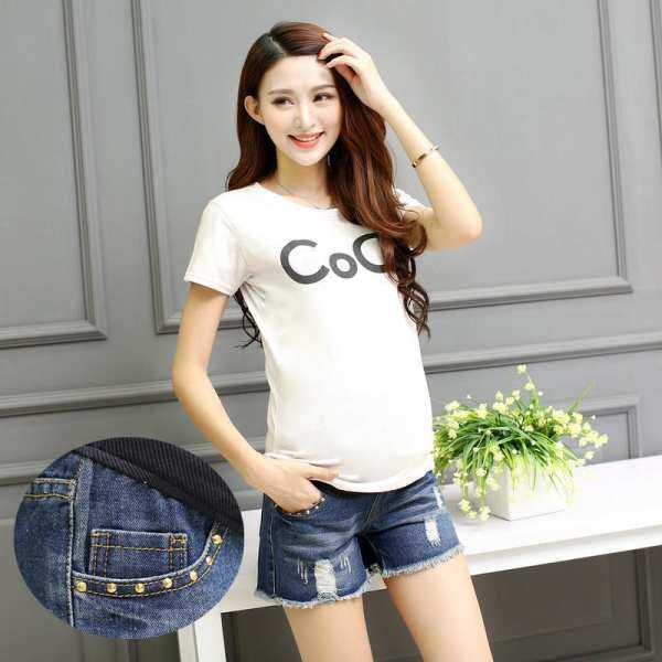 f3a19972411c3 Y236# Hole Fringed Cotton Denim Maternity Shorts 2017 Summer for Pregnancy  Jeans Women Waist Clothes