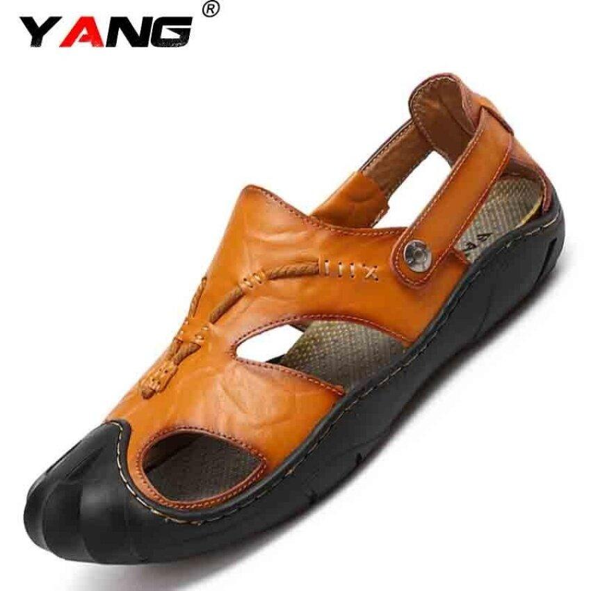 Yang Pria Kasual Modis Sepatu Pantai Sandal Musim Panas Sandal Sandal Lelaki  (Coklat) 1ca1f57ab3