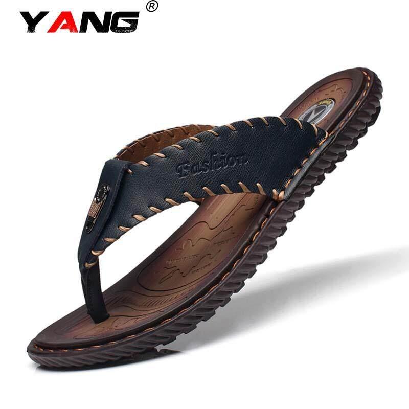 Yang Men's Sepatu Kulit Asli Lipat Flops Sandal Pria Sepatu Buatan Tangan Sandal Kasual Ringan Modis Sandal Sepatu Desainer Pria Tinggi kualitas Lelaki Lipat Jepit Ukuran 38-44 Meter (Gelap Biru) -Internasional