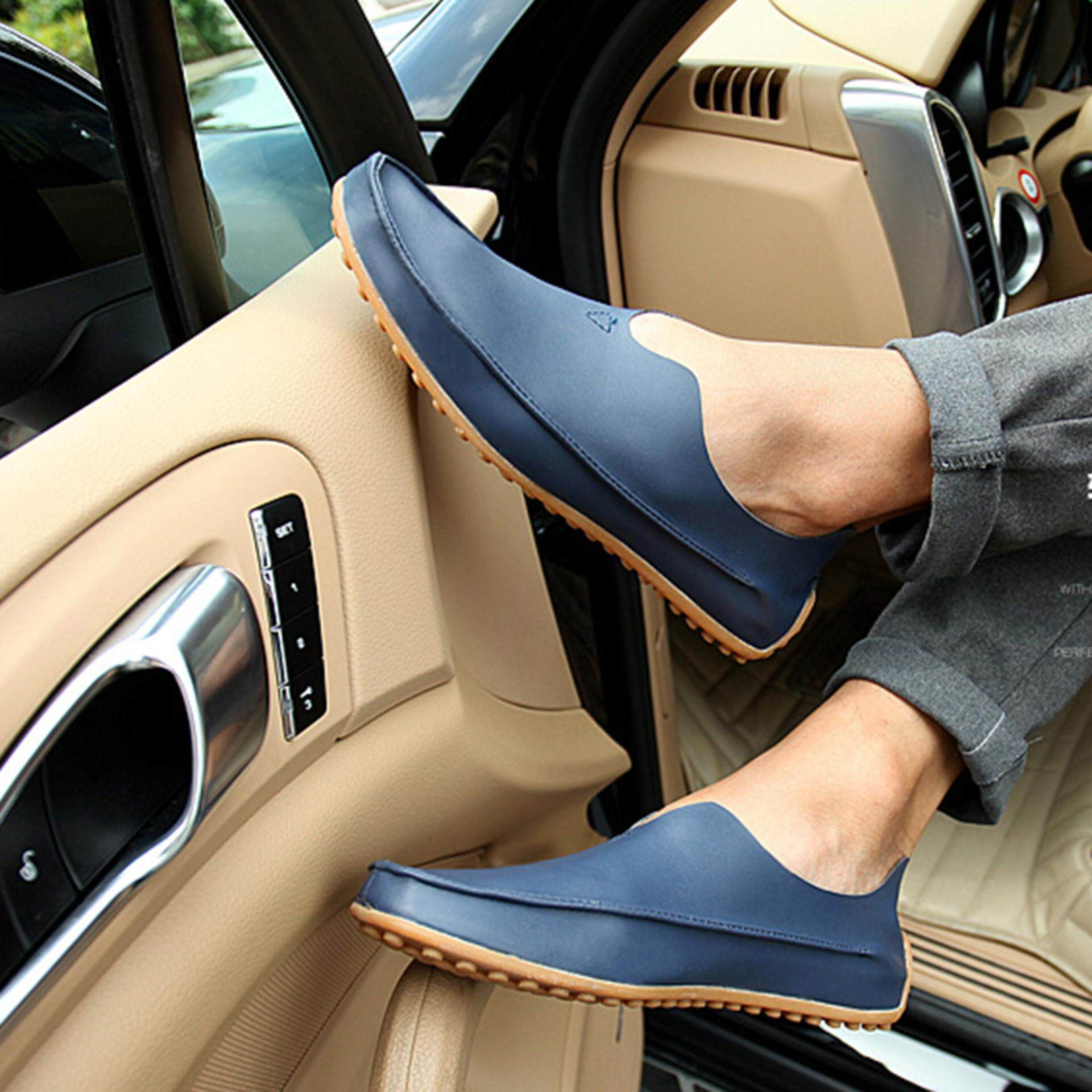 Men Fashion Driving Shoes Casual Leather Flats Comfy Boat Shoes Slip On Loafers