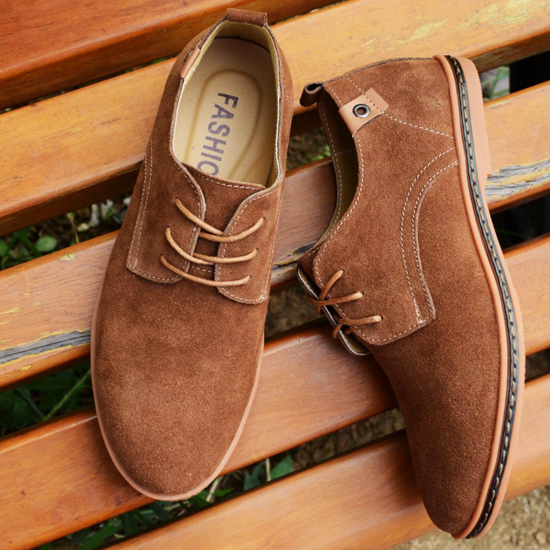 Yealon Pria Sepatu Kasual Suede Kulit Sepatu Pria Pantofel Sneakers Kasual Asli Kulit Datar Sepatu Pria Sneakers Sepatu Bot untuk Pria Oxford Besar Ukuran 38-48-Internasional