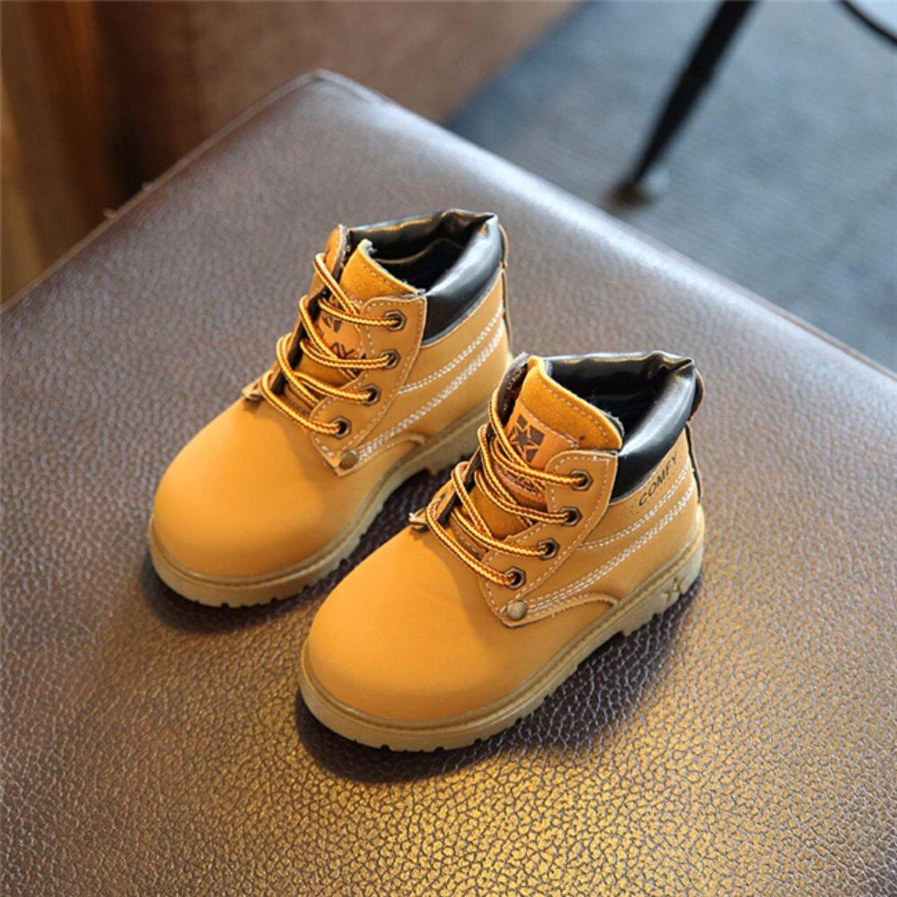 YingWei New Boys Girls Foots Lace Up Casual Martin Boots Non-slip Children Shoes(Yellow) - intl