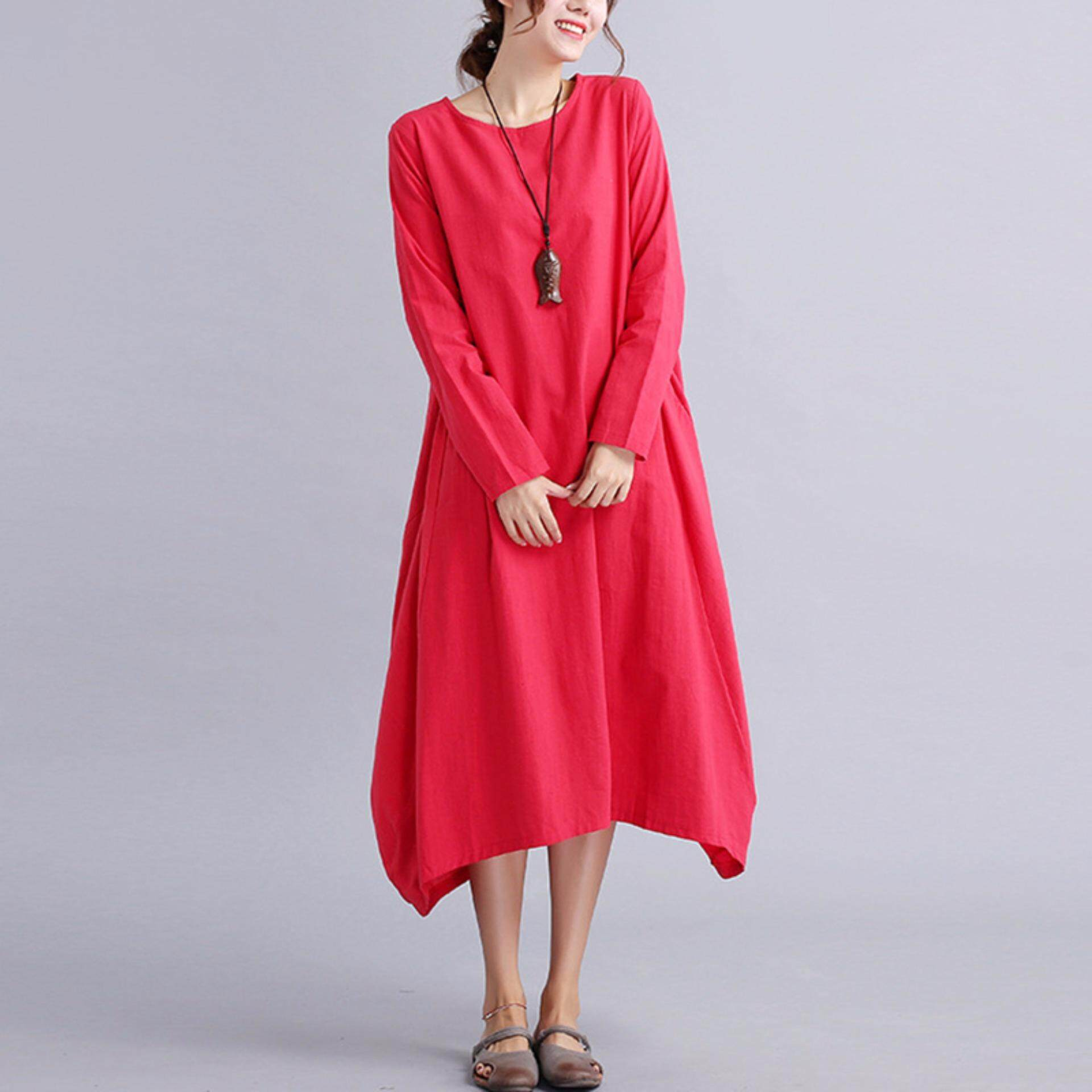 Yohanne Women Plus Size Loose Cotton and Linen Long Dress with 2 Pockets - intl