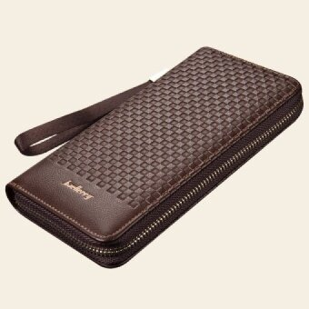YOUYOU MOUSE Men Clutch Fashion Woven Design Wallets Multifunction Soft Leather Coin Packet Long Zipper Card