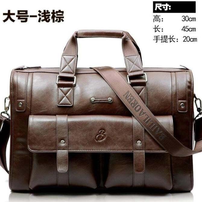 ซื้อ YSLMY big capacity men leather business bags Size 45*30*20cm Color light brown ขายช็อก