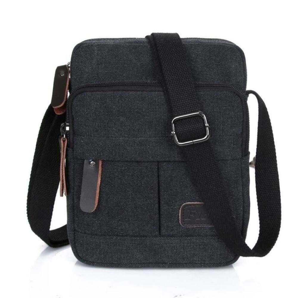 YSLMY ผ้าใบผู้ชายแฟชั่นกีฬาซิป Crossbody กระเป๋าเอกสาร LeisureOutdoor กระเป๋าเป้เดินป่าทนทานสายรัดปรับได้สีดำ-
