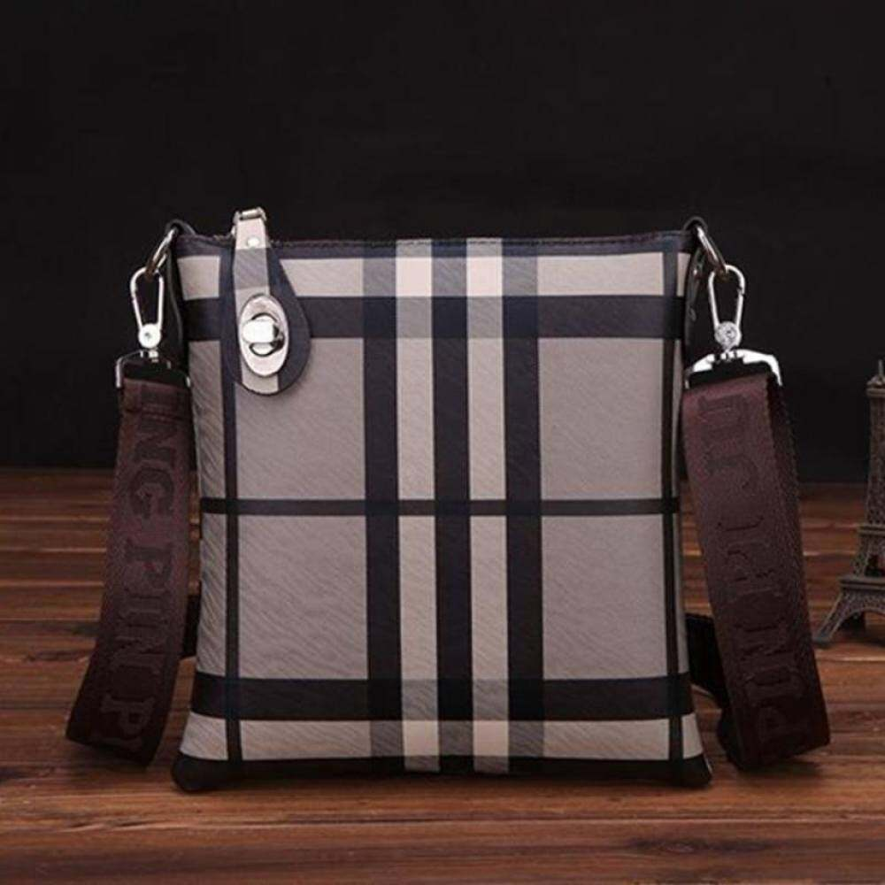 YSLMY Hot Sales Mens Soft Leather Plaid Pattern Business Bag Concise Fashion Shoulder Bag Outdoor Leisure