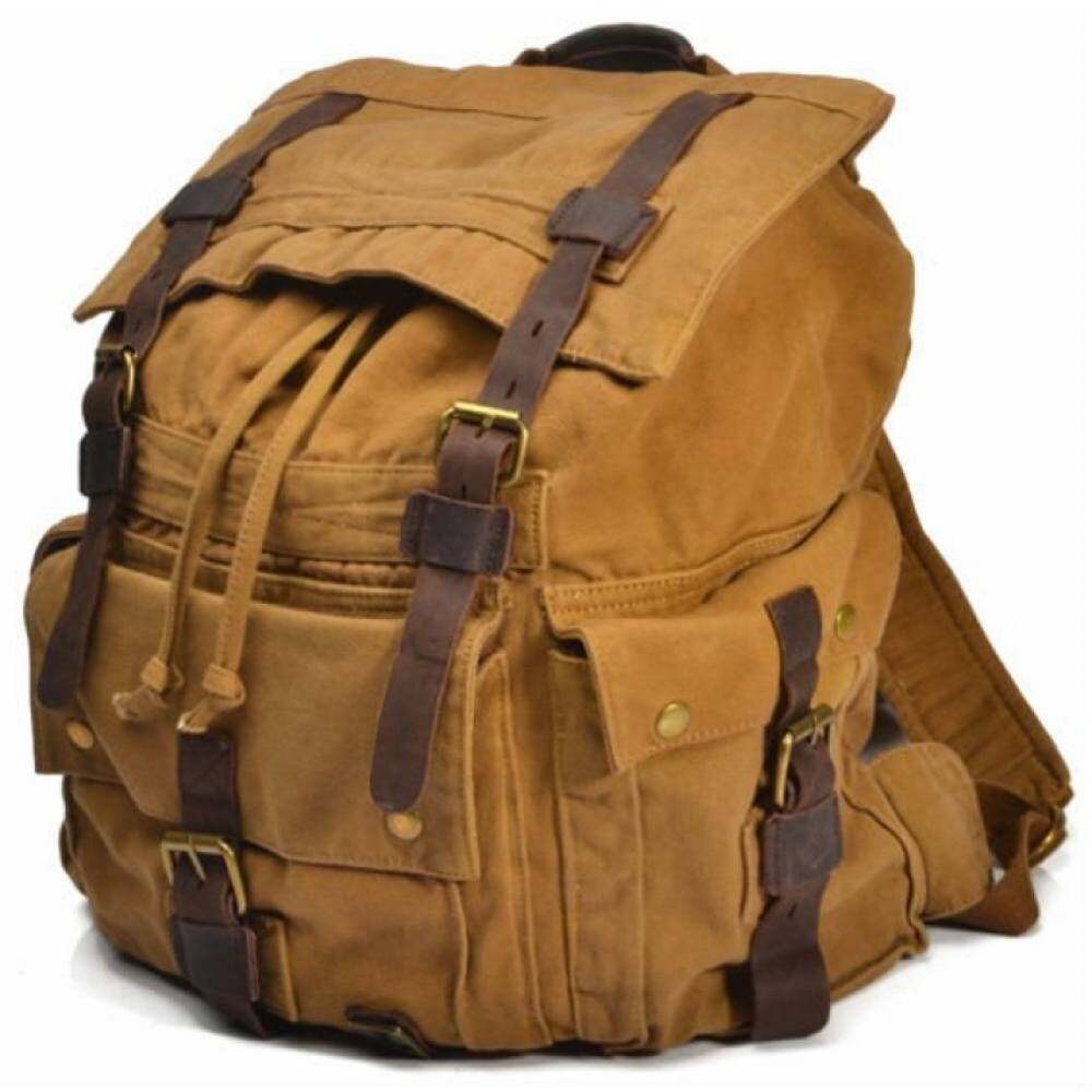 Man bag YSLMY Vintage Military Canvas Kulit Pria Backpack Kanvas Besar Hiking Backpack Bag Pria Sekolah