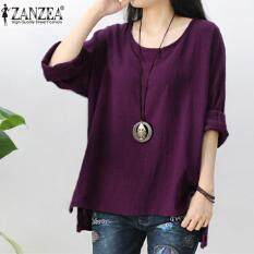e28f199e151f ZANZEA Womens Retro O Neck Long Sleeve Split Baggy Cotton Linen Casual  Loose Solid Party Tops
