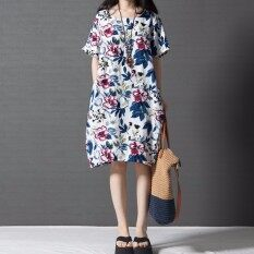 0fcfc5707765 ZANZEA Boho Style Printed Floral Dress Summer Womens Short Sleeve Dresses  Casual Vintage Vestido Plus Size