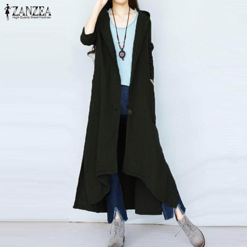 Zanzea Berkerudung Kancing Lengan Panjang Musim Gugur Musim Dingin Linen Katun Padat Jaket Mantel Panjang Perempuan