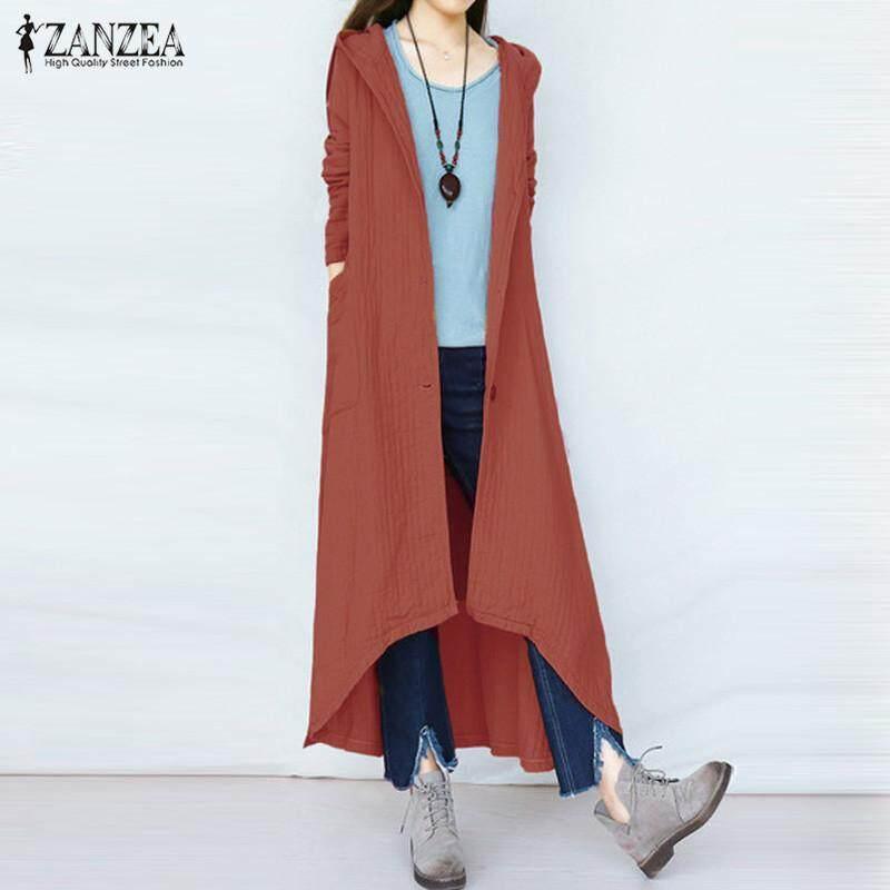 Zanzea Bertudung Tombol Lengan Panjang Musim Gugur Musim Dingin Polos Katun Linen Panjang Mantel Jaket Perempuan
