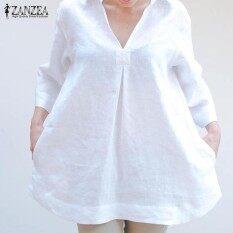 ef43f4c5231 ZANZEA Lapel Blouses 3 4 Sleeve V Neck Stylish Cotton Plus Size Ladies T-