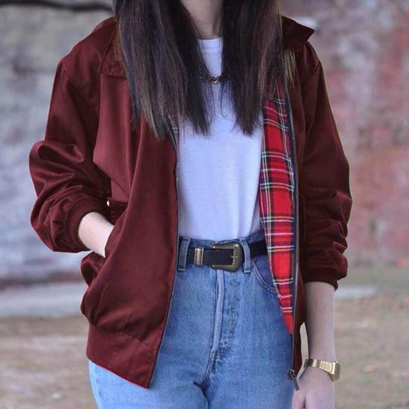 Zanzea Terlalu Besar Wanita Pakaian Musim Gugur Modis Antik Lengan Panjang Kotak-kotak Saku Ritsleting Jaket Bomber Jaket Kasual Ukuran (Anggur merah) -Internasional