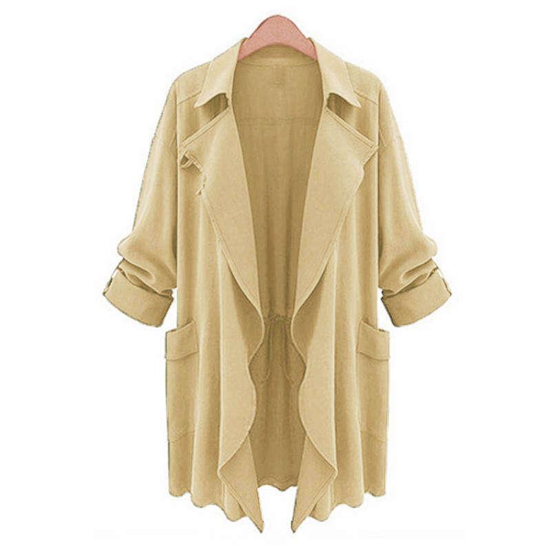 8024be3ba68 ZGFC68HSA PLUS SIZE Womens Lapel Slim Long Chiffon Size Trench Coat New  Beige Jacket Cardigan Parka