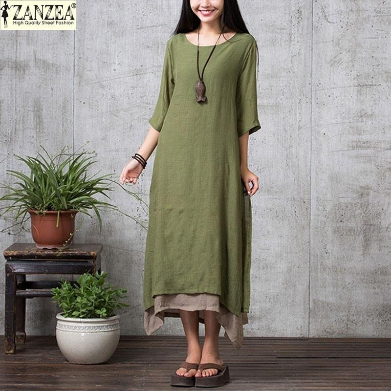 zanzea-women-2017-oversize-linen-muslim-dress-summer-autumn-casualloose-vintage-o-neck-elegant-34-sleeve-long-maxi-dresses-armygreen-4158-10187157-2fbdfb457f5da556edef9818e88b1297- Kumpulan Harga Model Dress Muslim Elegan Teranyar tahun ini