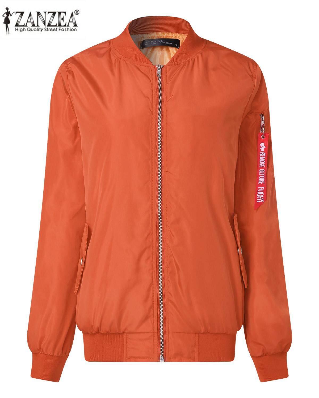 Zanzea Wanita Kasual Longgar Klasik Risleting Panjang Lengan Pendek Jaket Bomber Pengendara Sepeda Quilted Mantel Oranye-Internasional
