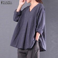 cdea56f37f3 ZANZEA Women Check Plaid Cotton Linen Casual Baggy Party Blouse Autumn V  Neck Long Sleeve Loose