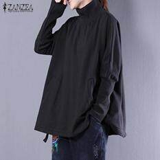 05c4eb1dc ZANZEA Women Simple Autumn Pockets Baggy Turtle Neck Long Sleeve Sweatshirt  Solid Splice Casual Top Blusas