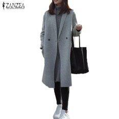 ZANZEA Women Turn Down Collar Long Sleeve Pockets Button Fashion OL Gray Wool Blend Coat Winter Warm Long Overcoat Jacket S-5XL Grey – intl