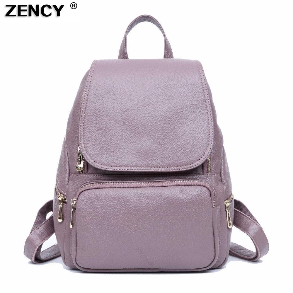 d815badf0a ZENCY Leather Backpack Bags Real Soft Genuine Leather Women Backpacks  Ladies Girls Top Layer Cowhide School