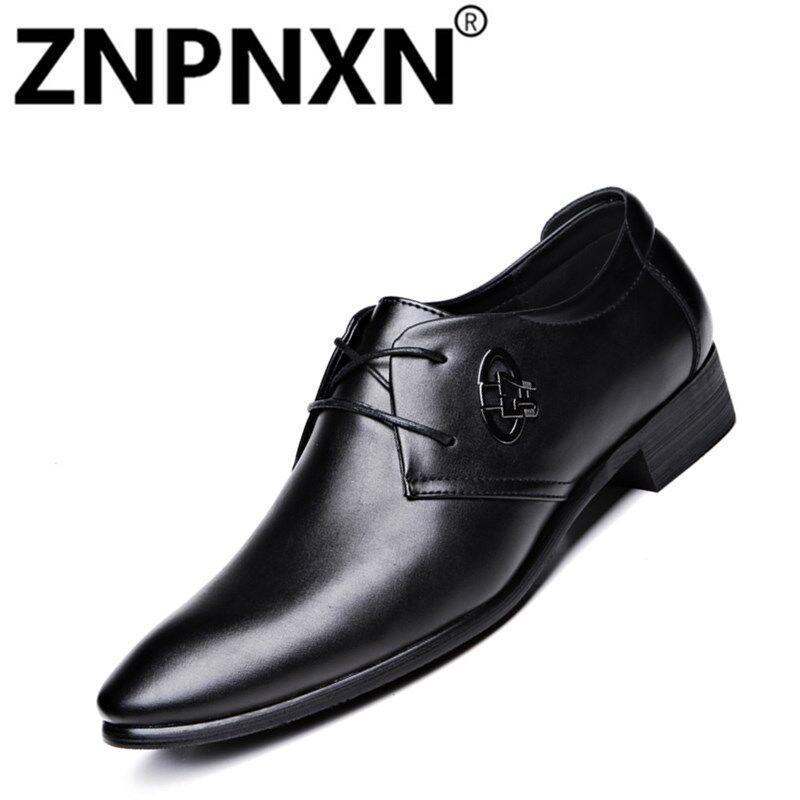 Znpnxn Sepatu Kulit Pria Retro Sepatu Musim Semi Pointed untuk Ujung Kaki Kantor & Karir Modis Pria Renda Atas Sepatu Brogue -Internasional