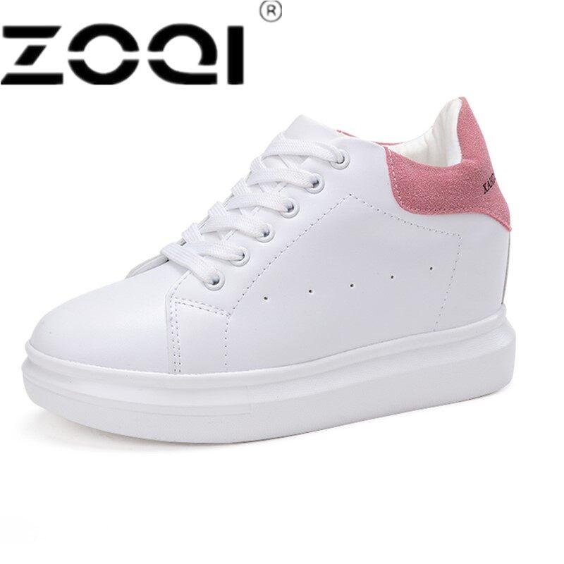 ZOQI Musim Semi Musim Gugur Kulit Asli Sneakers Wanita Putih Sepatu Fashion Renda-Up Platform Sepatu untuk Wanita