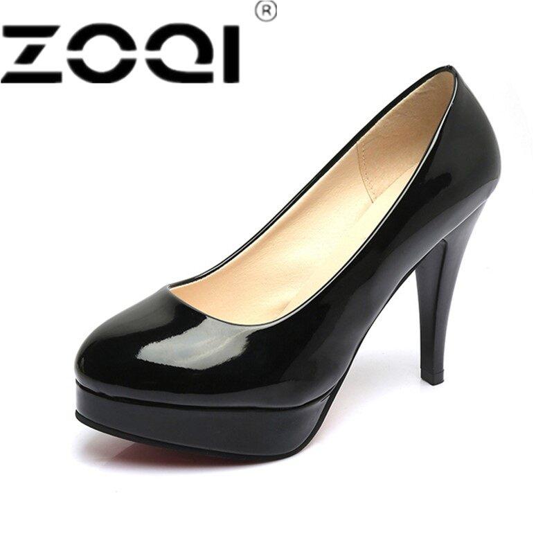 ZOQI Wanita Klasik Desain Round Toe Paten Kulit Pompa Merek Sepatu Formal High Heels Pernikahan Murah Sepatu