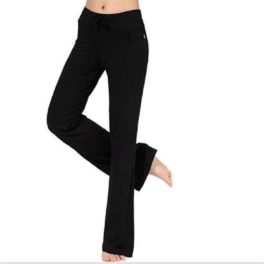 ZR C172 Ladys Lembut Comfort Katun Spandeks Yoga Keringat Lounge Gymspor Pan Hitam-Internasional