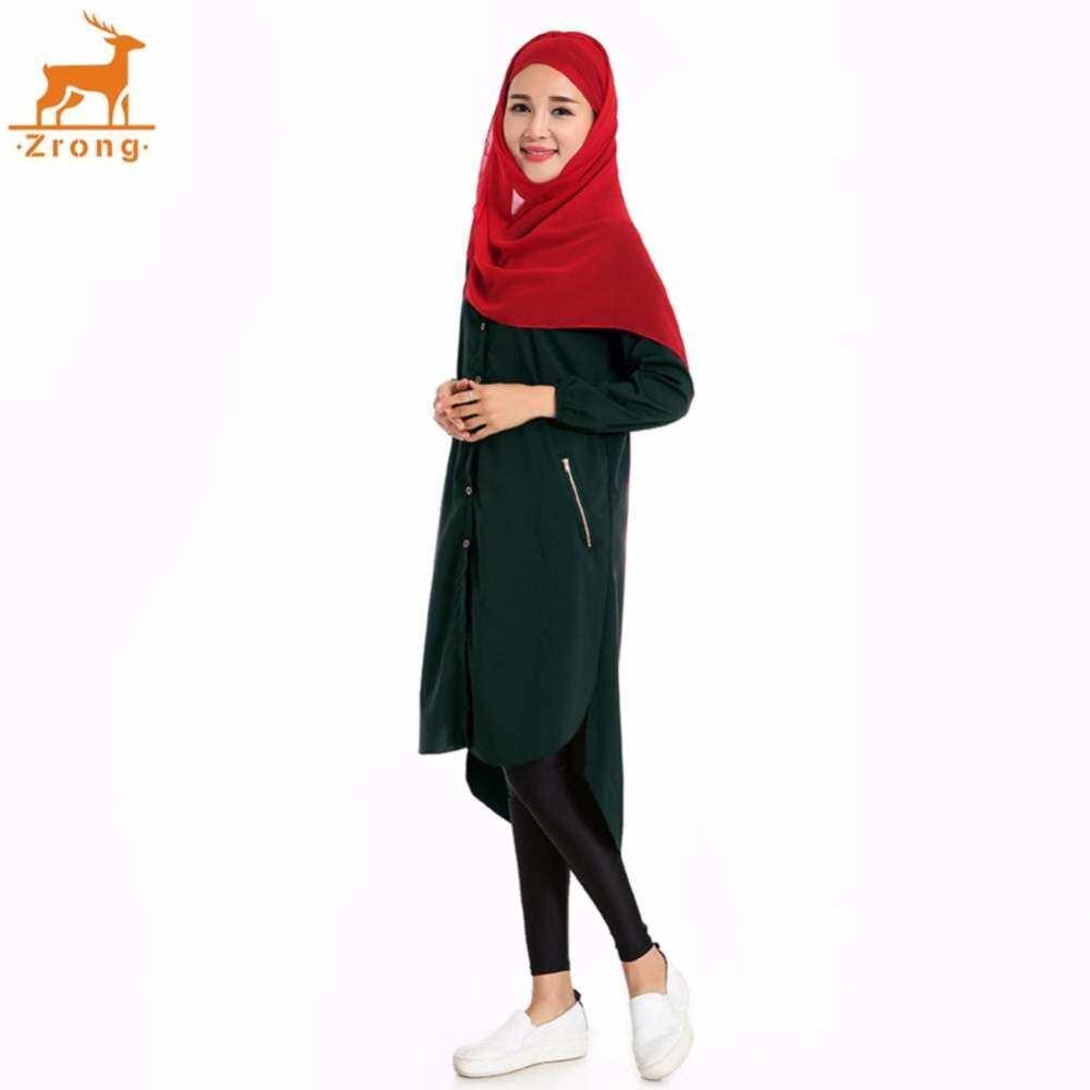 3929b169ab2e3b Baizhu Zrong Fashion Women s Muslim Wear Chiffon Collar Shirt Blouse  Muslimah Green Ethnic Islamic Stand