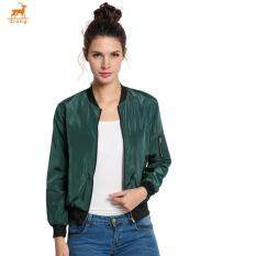Zrong New Stylish Ladies Women Casual Long Sleeve Front Zipper Coat Fashion Bomber Jacket (army Green) By Zrong.