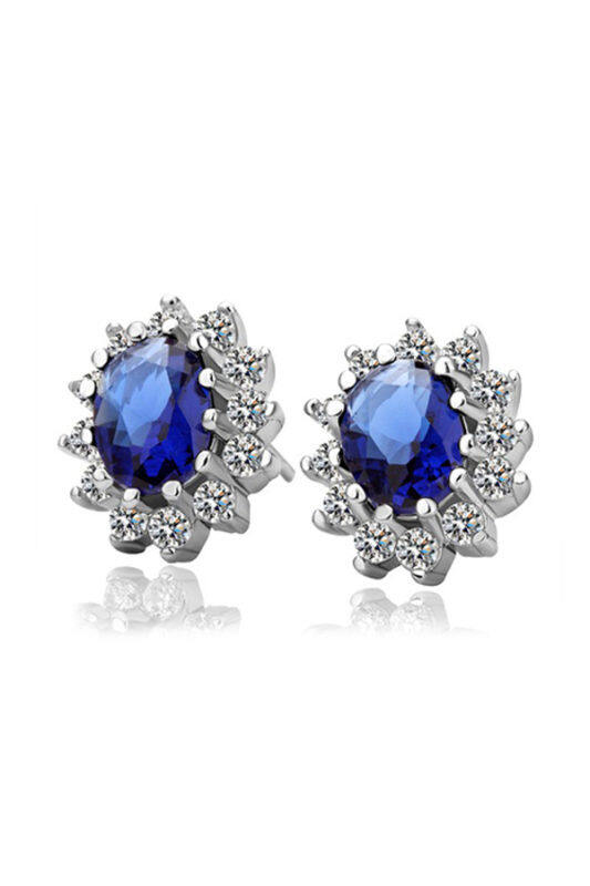 Zuncle Sarung Tangan Sapphire Anting-anting Retro (Biru)-Intl