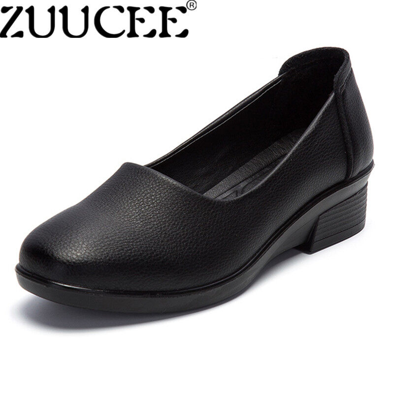 Zuucee Casual Women Small Leather Shoes Mother Shoes Flats Loafers Single Shoes Black Intl Coupon