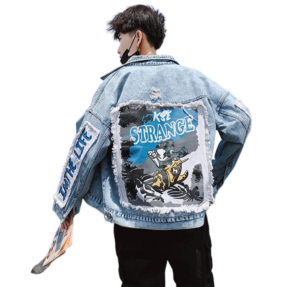 Men Women Fashion Pattern Casual Loose Denim Jacket Coat