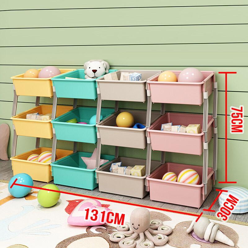 Ruyiyu 131x30x75cm 3 Layers Kids Toy Organizer And Storage Bins 12 Bins In Fun Colors Toy Storage Rack Lazada Ph