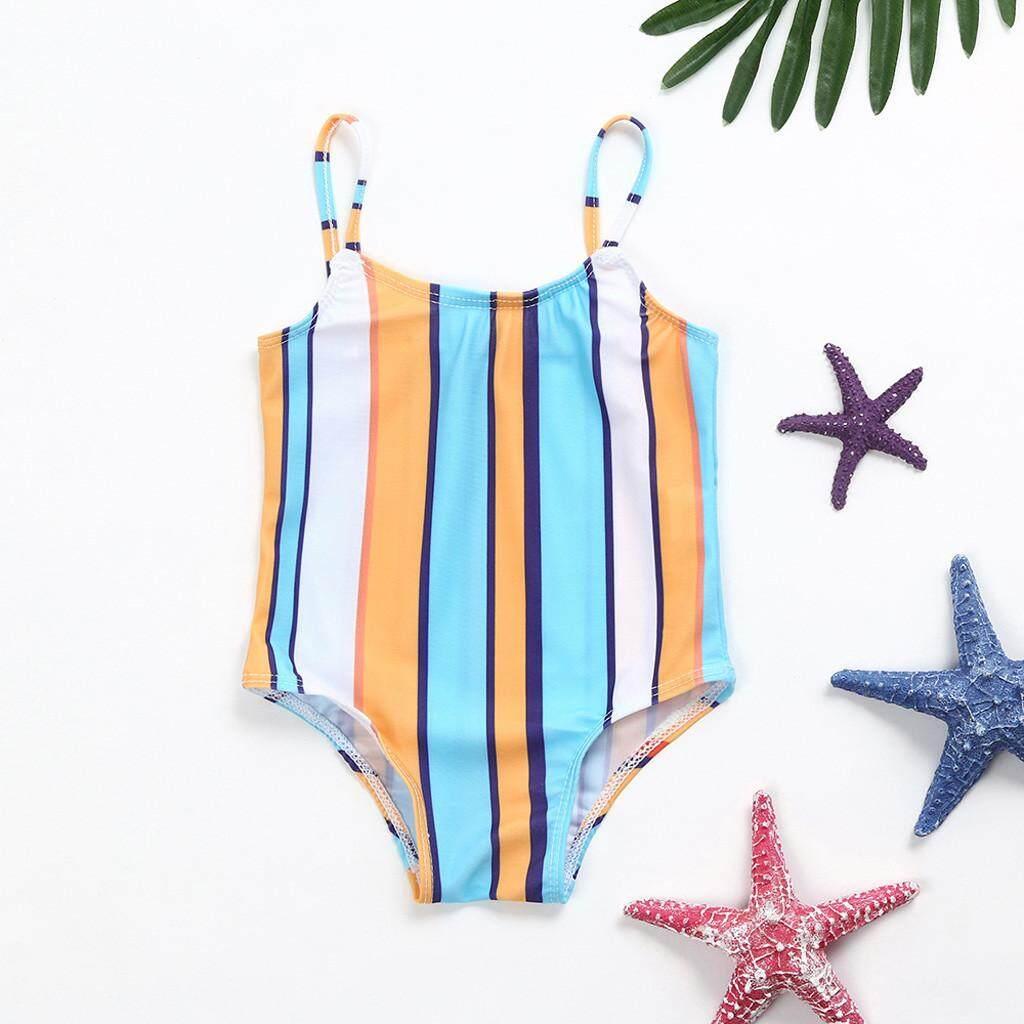 212b5100331 TCTTheOne Infant Kids Baby Girls Swimwear Striped Straps Swimsuit Bathing  Bikini Set swimming suit girl