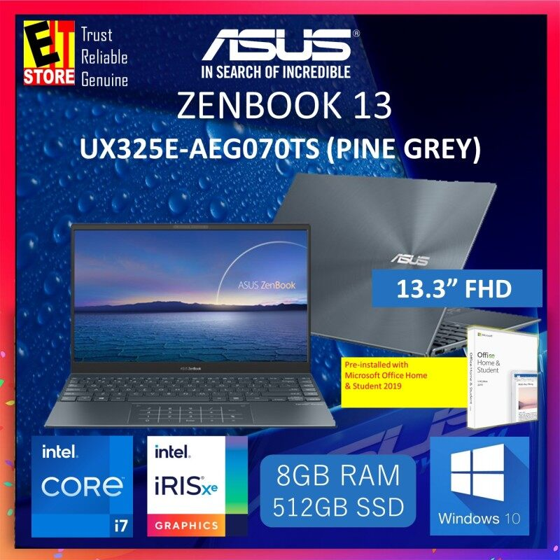 ASUS ZENBOOK 13 UX325E-AEG070TS LAPTOP-PINE GREY (I7-1165G7/8GB/512GB SSD/13.3  FHD/TYPE C AUDIO JACK/W10/2YRS) + MS OFFICE H & S 2019 & SLEEVE Malaysia