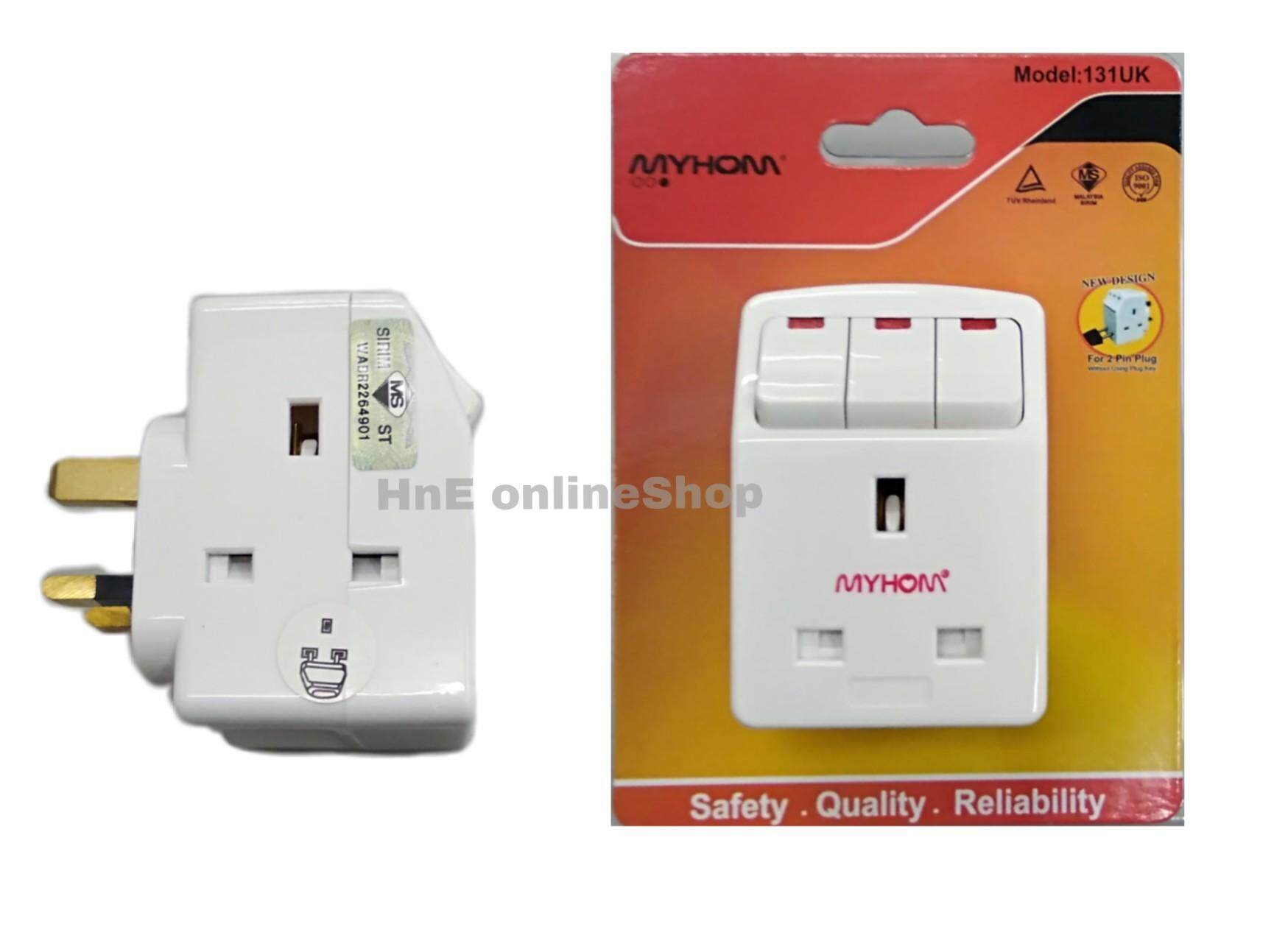 Myhom 13Amp 3way 3pins SIRIM Neon Switch Adaptor